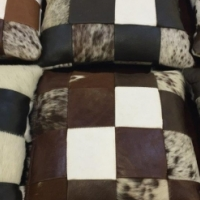 CUSHIONS. LEATHER CUSHIONS. Leather Patchwork Cow full hide cusions x 6.
