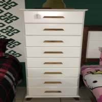 Zia Tallboy/ Chest of Drawers - White & Protea Brown