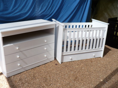 New compactum + matching cot with drawer.