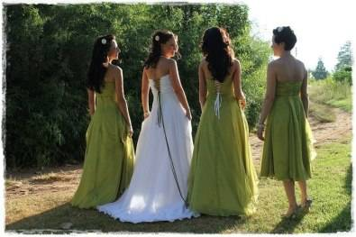 Bridesmaids and flower girls dresses.