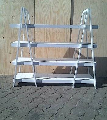 Trestle shelving Double A Frame 4 Tier 2000 White wash
