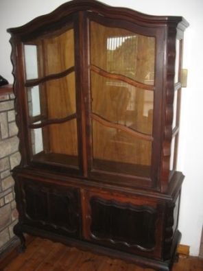Thought to be Stinkwood display cabinet AND MANY OTHER ITEMS OF FURNITURE