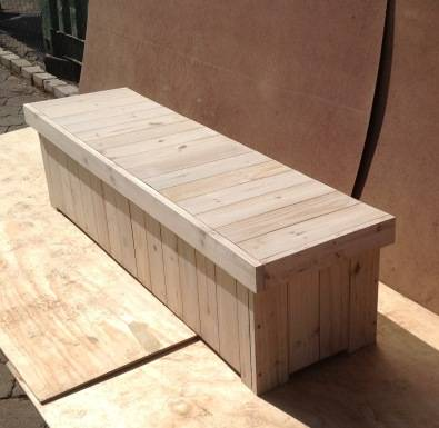 Patio bench with storage Farmhouse series 1800 Raw