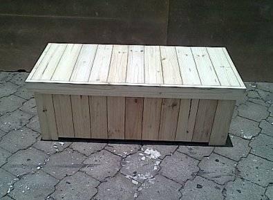 Patio bench with storage Farmhouse series 1300 Raw