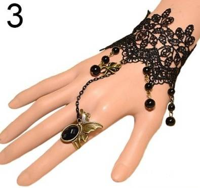 Gothic lace chokers and hand bracelet rings