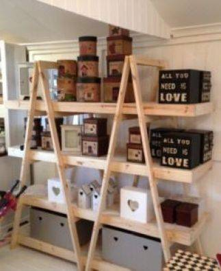Trestle shelving Double A Frame 4 Tier 1800 Raw   Junk Mail