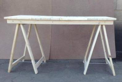 Patio table Cottage series 6 seater with trestle legs Raw