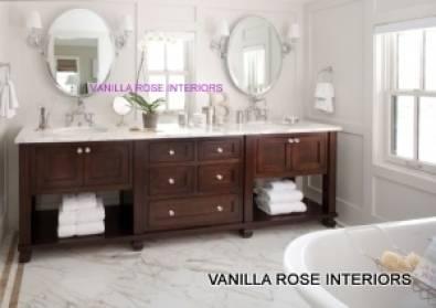 Bathroom vanity in mahogany finish