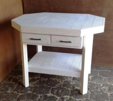 Kitchen Island Farmhouse series 1170 Octangular with drawers White washed