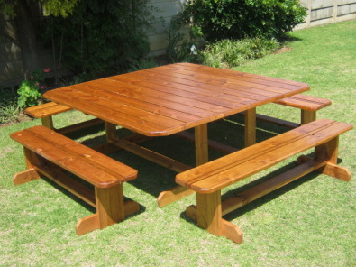 Ruacana 12/14 Seater Bench Table Set