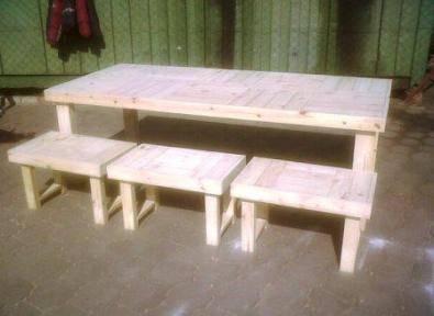 Patio table Farmhouse series 2390 combo Raw