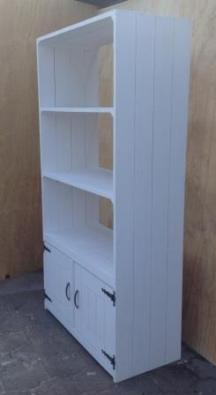 Wall display unit Cottage series 4 Tier with cupboard 470 White washed