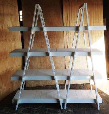 Trestle shelving Double A Frame 4 Tier 1800 White wash
