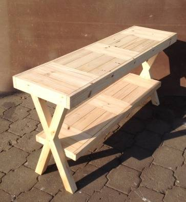 Sofa table Farmhouse series 1500 with crossed legs Raw