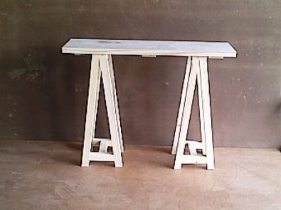 Sofa table Chunky Cottage series 1200 with trestle legs Raw