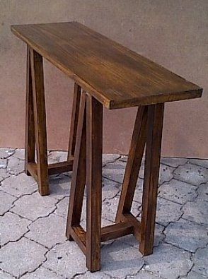 Sofa table Chunky Cottage series 1200 with trestle legs Stained