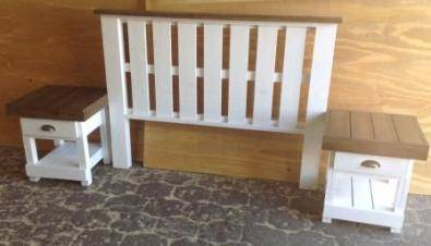 Headboard Farmhouse series Double bed set Two tone