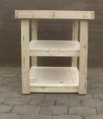Kitchen Island Farmhouse series 1235 with extra shelf and mobile Raw