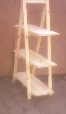 Trestle shelving Single A Frame 3 tier 1670 Raw