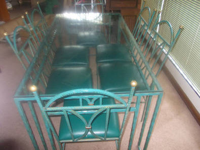 Wrought Iron Glass top table with 6 x chairs
