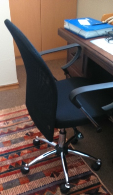 WOODEN DESK WITH BLACK OFFICE CHAIR FOR SALE