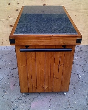 Kitchen Island Farmhouse Elegant series 1200 granite top with 4 doors and mobile Stained