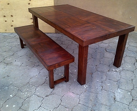 Patio table Farmhouse series 1870 combo 2 Stained