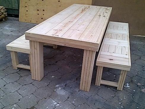 Patio table Chunky Farmhouse series 2400 (Combo 1) Raw