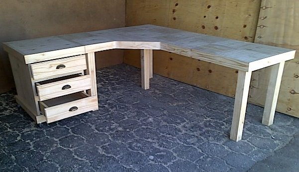 Study desk Farmhouse series 2100 L Shape Combo Raw