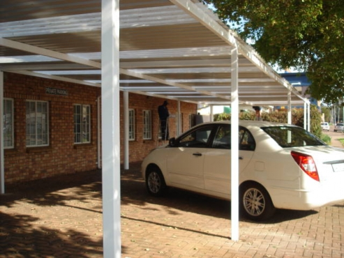 Installation of CARPORTS WITH CHROMADECK SHEETS OR GALVANISED IBR. ENCLOSED STOOPS, PATIO'S OR VERANDAHS.