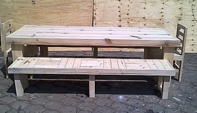 Patio table Chunky Farmhouse series 2500 Combo 1 Raw