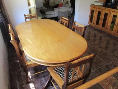 Yellow Wood And Imbuia Dining Set For Sale