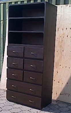 Chest of drawers Cottage series 2300 with open shelving Stained