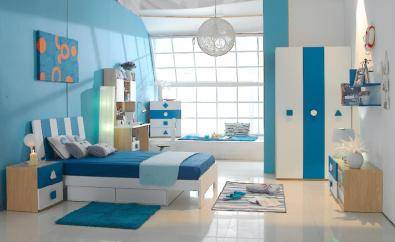 Blue teenager bed