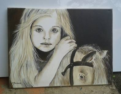 The Little Girl. Ink painting by Maureen.