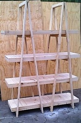 Trestle shelving Double A Frame 4 Tier 2200 - Raw