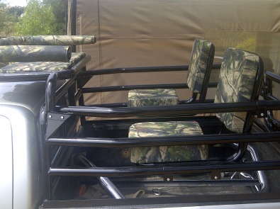 Hunting frame frame including canvas upholstery