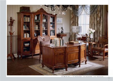 Antique replica display cabinets and tables