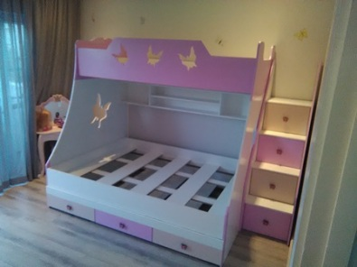 Bunk bed with butterfly cutouts