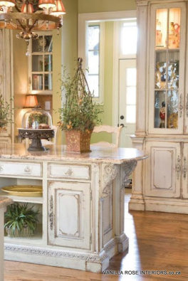 Distressed kitchen with an antique french look