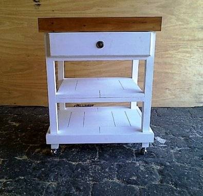 Kitchen Island Farmhouse series 0690 with drawer and 2 shelves Two tone