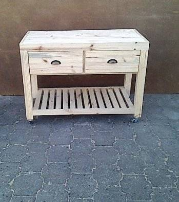 Kitchen Island Farmhouse series 1200 mobile with drawers Raw