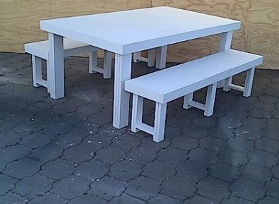 Patio table Farmhouse series 1850 Combo White wash