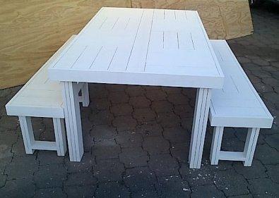 Patio table Farmhouse series 1870 Combo White wash