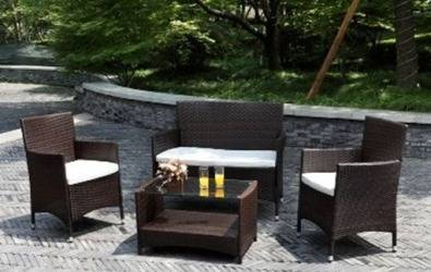 Atlantis 4 Piece Wicker Patio Outdoor Living Set w