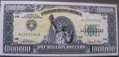 One Million Dollar Bill (Limited number Printed)