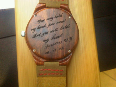 BAMBOO WATCH UNISEX c/w LEATHER STRAPS