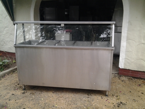 Stainless steel floor standing hot 5 div baine maries with shelf light and riser shelf high quality