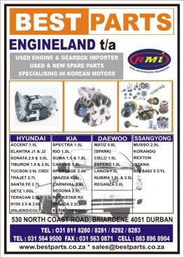 Engine + Gearbox & spare parts Hyundai, Kia Daewoo