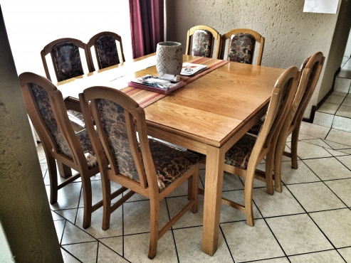 Solid Oak Eight Seater Dining Table and Chairs